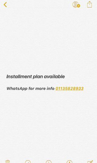 Installment plan Available
