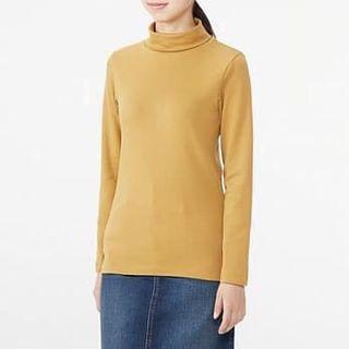 🚚 無印良品 MUJI 高領 t-shirt 衛衣 內搭衣 芥黃