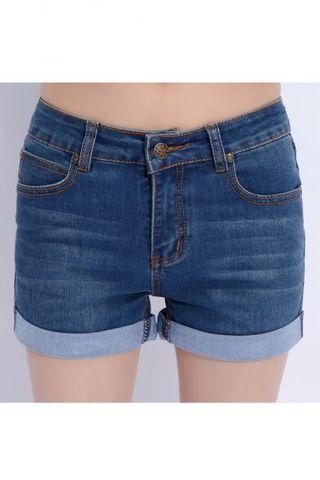 Mid-waist dark denim shorts