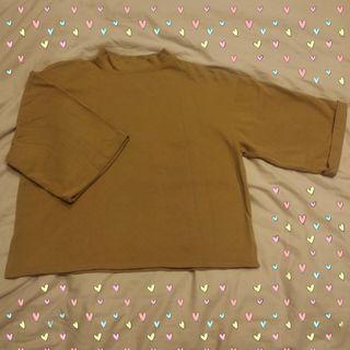🚚 穿過一次 棕色 深薑黃 上衣 寬袖 秋裝 冬裝 寬版