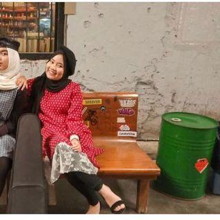 Dress import bkk polkadot plisket merah