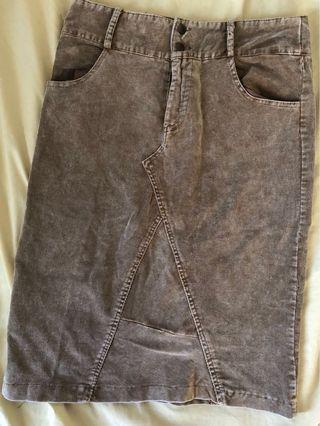 Denim Brown Pencil Skirt