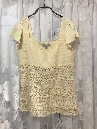 🚚 Jessica 專櫃品牌 米色 無袖 U領 甜美 蕾絲 針織衫