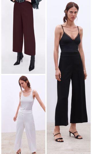 OshareGirl 04 歐美女士經典純色簡約設計休閒褲寬褲及踝長褲
