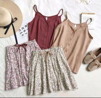 🌷(PO) Buttons Top And Floral Skirt Set
