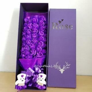 BN 51 Purple Soap Roses Bouquet Giftbox