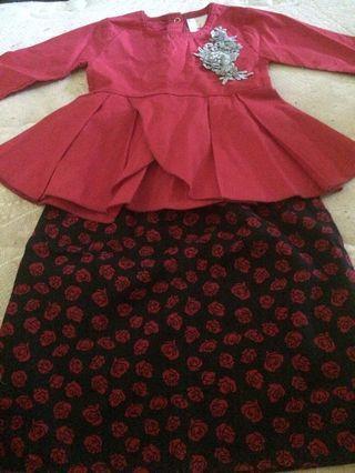 🌿🌿Red rose Kurung Peplum Cotton +soft fabrics