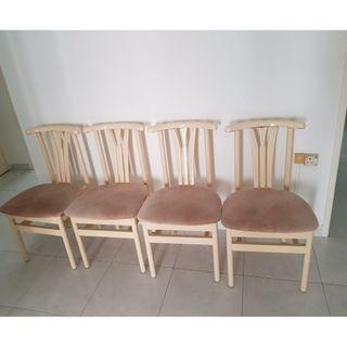 4 sturdy wooden dining chairs up for sale