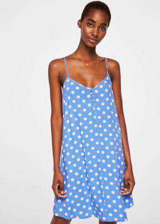 OshareGirl 04 歐美女士復古波點撞色雪紡連身裙洋裝