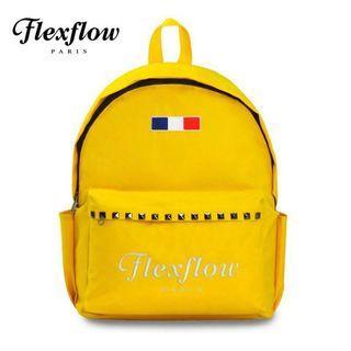 🚚 全新❤️Flexflow費氏芙蘿—後背包 黃色 龐畢度刺繡鉚釘後背包