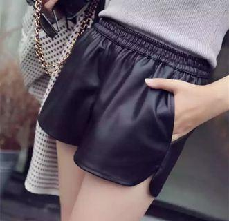 PU Leather Shorts With 2 Pockets #EST50