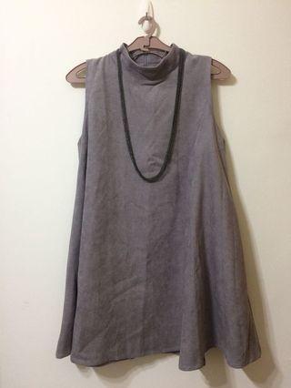 🚚 全新灰色無袖短洋裝