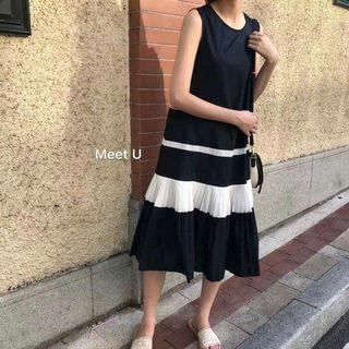 🚚 韓國單拼色中長深藍連身裙全新