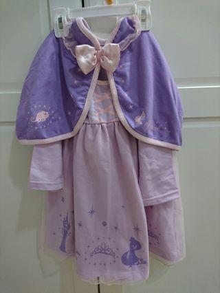 9成新 Disney長髮公主紗裙洋裝附披肩/披風 120cm 售$399