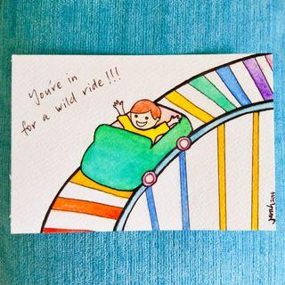 Rainbow rollercoaster painting  childrens art decor wall A6 size original watercolour colourful