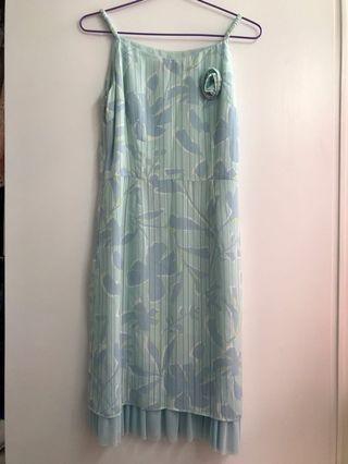 淺藍色印花雪紡斯文裙 Light blue dress