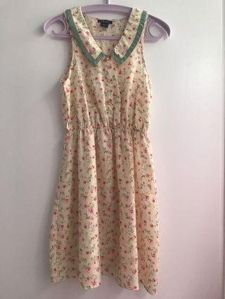 淺黃色小清新粉紅碎花斯文連身裙 Pale yellow dress with pink flowers