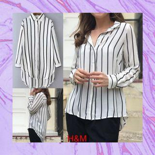 H&M Striped Shirt - BlackWhite