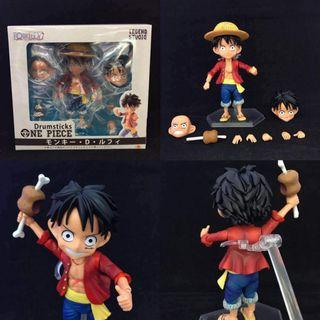 Anime One Piece Drumsticks Movable model Luffy Action Figure 12cm