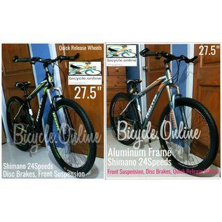 """27.5"""" Aluminum ATB / All Terrain Bikes *Hrs2728 ☆ Shimano 24Speeds, Disc Brakes & Front Suspension, quick release wheels ☆ Brand new HARRIS bicycles"""