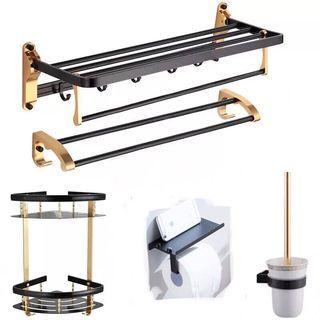 Black-and-Gold Toilet accessories(tower rack, toilet paper holder)