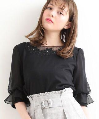 黑色🌸日系🌸透視紗喱士花上衣 Japan fashion see through see-through lace trimmed embroidery chiffon blouse top black top