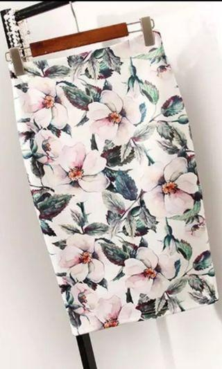 Stretchy Floral Polyester Bandage/Workwear/Casualwear Skirt