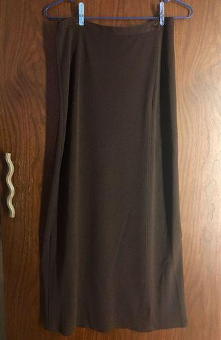 26-27腰 褐色兩片長裙 易搭配 brown long skirt