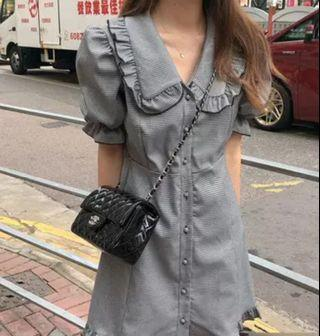 Korean new fashion ulzzang new chic retro vintage temperament summer autumn spring winter student college princess doll collar plaid lattice bubblesleeve puff sleeve button down buckle single breasted row buckle button down short sleeve 2019 dress