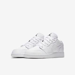 AIR JORDAN 1 LOW (GS) 全新 553560-110 NIKE uk5.5  喬登 白鞋 運動鞋