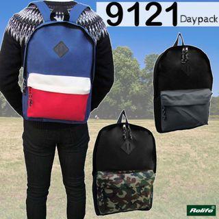((特價$108包順豐自取)) 黑+迷彩 全新日本直送 Relife 9121 簡約輕便旅行背囊 書包