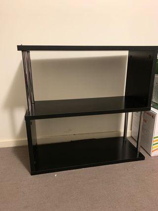 Shelf books tv laptop printer