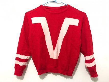 🚚 短版針織上衣 紅白配色