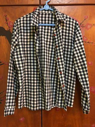 Black & White Checkered Top / Buttoned Shirt