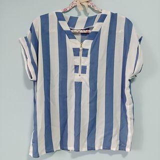 Blue White Stripes Blouse Top with Front Pearl Zip One Size UK10 UK12 UK14 S M L