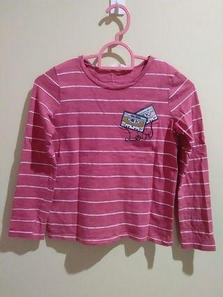 [MANGO KIDS] Pink & White Striped Top