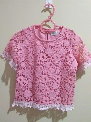 [JKIDS] Watermelon Pink Laced Blouse