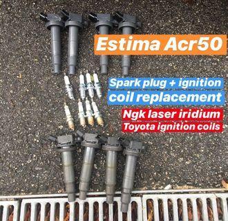Toyota Estima plug + coil replacement