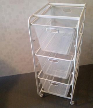 White Tall IKEA Algot Frame Big Mesh Baskets Castors Wheels