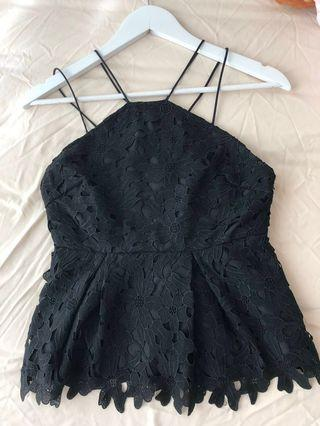 Black Peplum Top with Lace details