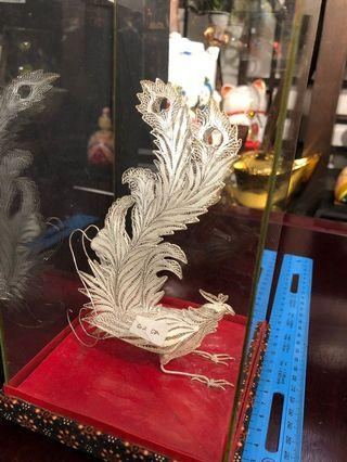 Exquisite silver phoenix decoration (精致银制凤凰摆设品) Note: One leg is detached as shown in the pic. (注: 一脚已脱落)