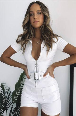 White Zipper Jumpsuit