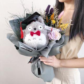 Graduation Flower Bouquet | Totoro Flower | Pikachu Bouquet | Doreamon Toy Flower | Preserved Dried flower bouquet | Toy Bouquet | Flower Delivery| Birthday Flower | 皮卡丘 |龙猫 |叮当猫|毕业花束 |鲜花运送