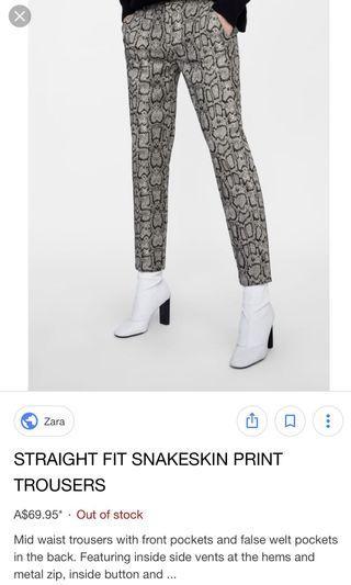 Zara Chino fit snake print pants