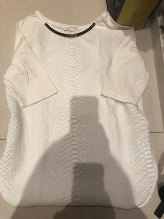 Zara異材質拼接短袖上衣