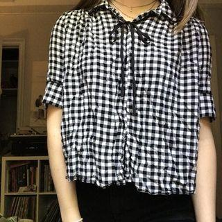 Zara Button down flowy gingham shirt
