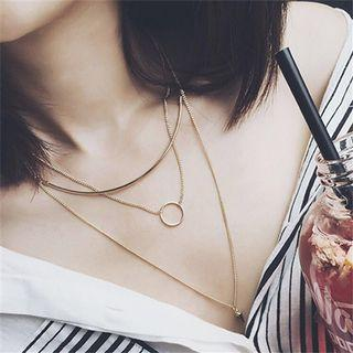 Circle Pendant Layered Chain Necklace from Korea