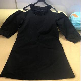 Black dress with cold shoulder