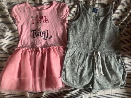 BabyGap灰色連身褲3yrs+粉紅色連身裙2-3yrs