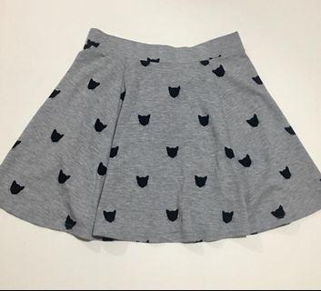 H&M Cat Print Grey Skater Skirt